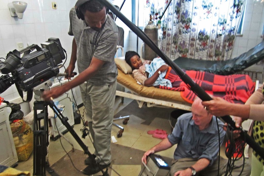 filming on ward in Tikur Anbessa hospital, Ethiopia